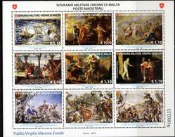 SOVERIGN MILITARY ORDER OF MALTA, SMOM, 2018, MNH, AENEID, MASTERPIECES OF LITERATURE, SHIPS, SHEETLET - Art