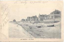 Le Crotoy La Plage  1902 Tarif Imprimé 2 Timbres à 5c Blanc Cachet Convoyeur Ligne ABBEVILLE A BOULOGNE 30 Janvier 1902 - Le Crotoy