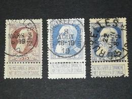 COB N° 75 Et 76. Oblitération Bruxelles Service 3/9, 3/12, 13 - 1905 Grosse Barbe