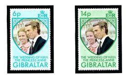 Gibraltar 305-06 MNH 1973 Princess Anne Wedding - Gibraltar