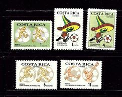 Costa Rica 369-73 MNH 1986 Soccer - Costa Rica