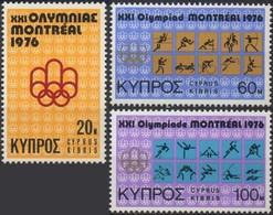 //// CHYPRE Yvert 448 - 450** Michel 454 - 456** - Ete 1976: Montréal