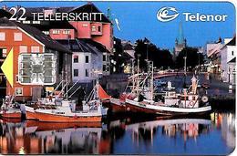 CARTE-n-PUCE-NORVEGE-SC7-3/97-PORT De PECHE -NIDELVEN-R° Glacé-Utilisè-TBE - Norvège
