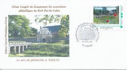 Arras Championnat Régional De Philatélie 2016 Sur Enveloppe Illustrée Timbreàmoi - Marcophilie (Lettres)