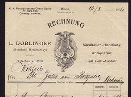 AUSTRIA WIEN - DOBLINGER - INVOICE RECHNUNG FAKTURA 1904 (see Sales Conditions) - Autriche