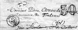 LAC De SARLAT (24) Pour CAHORS (46) 15 Avril 1856 - CAD Rond Type 15 - Taxe Double Trait 30 - 1849-1876: Période Classique