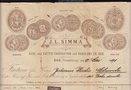 AUSTRIA - EGG VORARLBERG - J. L. SIMMA - INVOICE RECHNUNG FAKTURA 1891 (see Sales Conditions) - Autriche