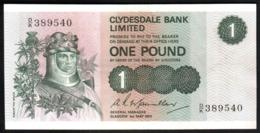 Scozia Scotland 1 Pound Clydesdale Bank 1972 Circulated Sterlina UK England - [ 3] Scotland