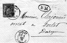 Cachet BM Boite Mobile Sur Enveloppe 1879 Cachet A Date Sarlat - Marcophilie (Lettres)