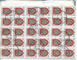 Cachet Bureau Distribution De BAINS HAUTE LOIRE 1956 Affranchissement Au Verso 30 Timbres 50c Blason Du Maine N°999 - Poststempel (Briefe)