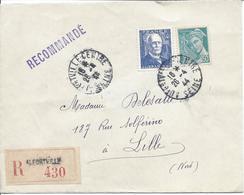 Alfortville 26 4 1944 Lettre Recommandée Tarif 4.50F Timbres Branly Et Mercure 50c - Poststempel (Briefe)