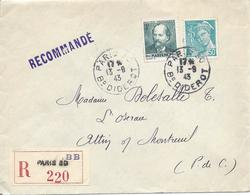 PARIS 30 Bd Diderot 13 9 1943 Lettre Recommandée Tarif 4.50F Timbres Massenet Et Mercure 50c - Poststempel (Briefe)