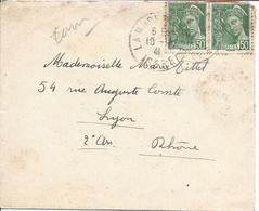 LA MURE ISERE 1941 Tarif à 1.00F Timbre 50c Mercure Vert En Paire - Poststempel (Briefe)
