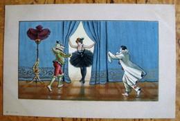 Pierrot Arlequin Colombine Illustrateur Danse Comédie Italie - 1900-1949
