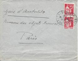 VIERZON GARE CHER Affranchissement Timbres 50c Type Paix Tarif à 1.00F - Poststempel (Briefe)