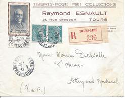 TOURS GARE INDRE ET LOIRE 1942 Lettre Recommandée Tarif 4.00F Timbres 4F Blondel + 50c Mercure En Paire - Poststempel (Briefe)