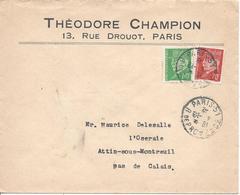 PARIS 31 R De Provence 1942 Timbre Pétain 60c Et 70c Tarif à 1.30F - Poststempel (Briefe)