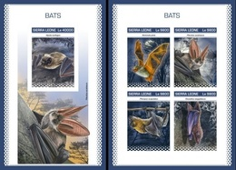Sierra Leone 2018, Animals, Bats, 4val In BF +BF IMPERFORATED - Sierra Leone (1961-...)