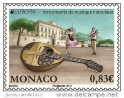 """MONACO -EUROPA 2014- TEMA ANUAL  """" INSTRUMENTOS MUSICALES NACIONALES""""-  SERIE De 1 Timbre - Europa-CEPT"""