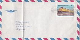 ENVELOPPE AIRMAIL CIRCULEE COOK ISLAND A L'ARGENTINE 1985 BANDELETA PARLANTE - BLEUP - Cookeilanden