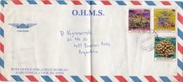 OHMS, ENVELOPPE AIRMAIL CIRCULEE COOK ISLAND A L'ARGENTINE 1987 3 COLOR STAMPS AVEC SURTAXE NOIR - BLEUP - Cookeilanden