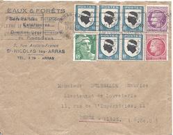ARRAS GARE 30 Mars 1948 Tarif à 6F Timbres 5 Blason De Corse + 3F Gandon + Cérès Mazelin 1.50F Et 1F - Marcophilie (Lettres)