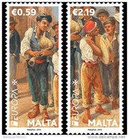 """MALTA - EUROPA 2014-TEMA ANUAL """" INSTRUMENTOS MUSICALES NACIONALES""""- SERIE De 2 V. - Europa-CEPT"""