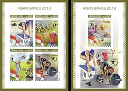 Sierra Leone 2018, Sport, Asian Games, Archery, Swimming, 4val In BF +BF IMPERFORATED - Sierra Leone (1961-...)