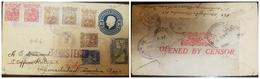 O) 1919 MEXICO, JOSE MARIA MORELOS SC 509- 4c, IGNACIO ZARAGOZA SC 508- 3c, BENITO JUAREZ SC 505 10c, CENSORSHIP-OPNENED - Mexico