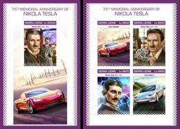 Sierra Leone 2018, Tesla, Cars, 4val In BF +BF IMPERFORATED - Sierra Leone (1961-...)