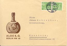 Publicite De Cafe Sur Lettre De Berlin Vers Mannheim 1950 - Ernährung