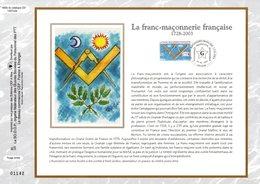 """"""" LA FRANC-MACONNERIE FRANCAISE """" Sur Feuillet CEF N°té En SOIE De 2003 N° 1660s N° YT 3581 Parfait état FDC - Franc-Maçonnerie"""