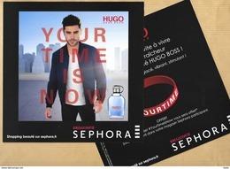 "Carte Promo Perfume Card ""Your Time Is Now"" HUGO BOSS * SEPHORA * 18 X 18 Cm - Cartes Parfumées"