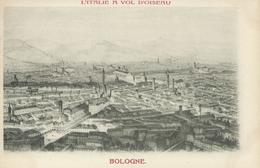 Italie L'ITALIE A VOL D'OISEAU BOLOGNE Gravure  Précurseur TBE - Italy