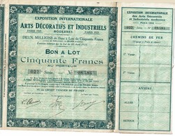 LBR26 - EXPOSITION INTERNATIONALE ARTS DECORATIFS PARIS 1925 BON A LOT N° 08.584 (TICKETS D'ENTREE DETACHES) - Shareholdings