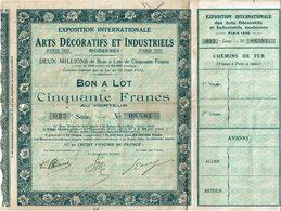 LBR26 - EXPOSITION INTERNATIONALE ARTS DECORATIFS PARIS 1925 BON A LOT N° 08.581 (TICKETS D'ENTREE DETACHES) - Actions & Titres