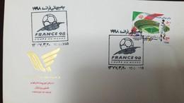 L) 1998 IRAN, CUP OF THE WORLD, FRANCE 98, FOOTBALL, PLAYER, COURT, BALL, STADIUM, FDC - Iran
