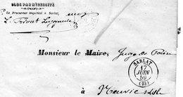 LAC De SARLAT (24) Du Procureur  Pour Le Juge De Paix De NEUVIC Sur L'isle (24) 17 Juin  1859 - CAD Rond Type 15 - 1849-1876: Période Classique