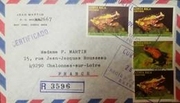 O) 1986 COSTA RICA, FROGS - HYLA EBRACCATA 11col SC 383, DENDROBATES PUMILIO SC 382,RARE ISSUE.  EXTERIOR CERTIFICATE, R - Costa Rica