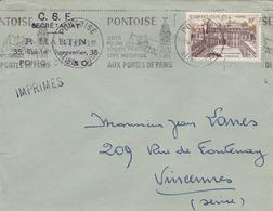 """LSC - PONTOISE  (Val D'Oise)   Flamme """" Pontoise Arts Pêche Sports Cité Historique Aux Portes De Paris"""" - Marcophilie (Lettres)"""