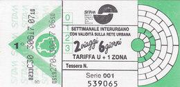 MILANO  /  Biglietto - Settimanale Interurbano  _ S.I.T.A.M. - Bus