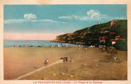 LA FRANQUI-PLAGE (Aude) - La Plage Et La Falaise - Carte Rare - Voyagée En Bon état -  2 Scans - France