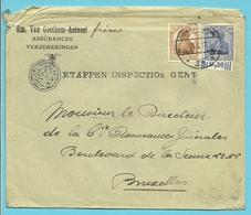 BZ 30+10 Op Brief Stempel POSTUBERWACHUNGSSTELLE 33 Verzonden GAND (VK) - WW I