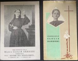 "Antico Santino Doppio Holy Card "" Venerabile  CLELIA  BARBIERI "" 1960 - Religione & Esoterismo"