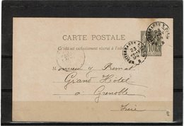 LBR26 - FRANCE CP SAGE 10c AMBULANT MEDITERRANEE A PARIS 23/1/1894  PLI - Postal Stamped Stationery