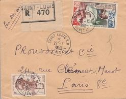 LSC 1950 - Recommandé SAINT LOUIS - Cachets Saint Louis SENEGAL Sur YT 34 Et YT PA 15 - A.O.F. (1934-1959)