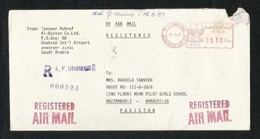 Saudi Arabia Registered Meter Mark Air Mail Postal Used Cover Dhahran To Pakistan 1989 - Arabie Saoudite