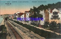 105075 PORTUGAL LISBOA AVENUE IVENS & RAILROAD TRAIN POSTAL POSTCARD - Unclassified
