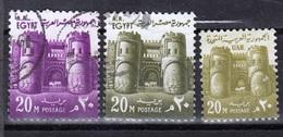 Egypt,1962-1973- Bab El Fatah Gate,CancelledNH. Lot Of Three Different Stamps. CancelledNH - Egitto