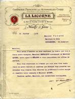 """Cie Française Des AUTOMOBILES CORRE - """"LA LICORNE"""" - NEUILLY-SUR-SEINE - Lettre Illustrée De 1911 - Voitures De Tourisme"""